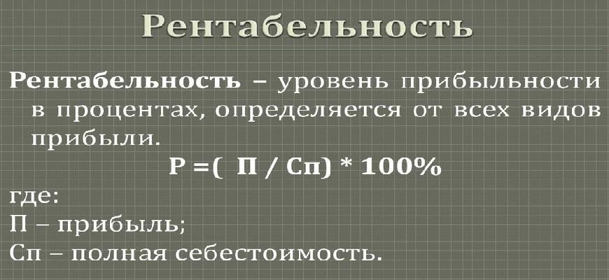 Рентабельность продукции формула расчёта